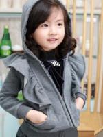 Huanshu kids เสื้อกันหนาวแฟชั่นเด็กสีเทา เก๋มาก น่ารักสไตล์เกาหลี ( ผ้าหนา )
