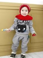ชุดเซ็ทเด็ก เสื้อแขนยาว B CATS + กางเกงขายาว สไตล์เกาหลี (ผ้าหนา)