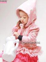 Huanshu kids เสื้อกันหนาวแฟชั่นเด็ก สีชมพู มีลายดาวสีขาวแบบเก๋มาก น่ารักสไตล์เกาหลี
