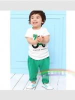 ชุดเซตเด็ก เสื้อ +กางเกง ตกแต่งคล้ายชุดเอี้ยม น่ารักสไตล์เกาหลี เก๋มากค่ะ ขนาด140