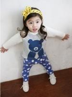 ชุดเแฟชั่นเด็ก 2 ชิ้น เสื้อสีน้ำเงินลายหมี+ กางเกงสีน้ำเงินลายจุด ผ้าเนื้อดีน่ารักสไตล์เกาหลี