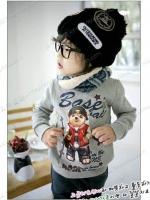 เสื้อกันหนาวแฟชั่นเด็ก พิมพ์ อักษร Baseball+ลายหมีเ แบบเก๋มาก