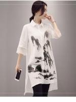 เสื้อเชิ้ตตัวยาวสไตล์เกาหลี พิมพ์แต่งลายเก๋ๆ เนื้อผ้าดีสวมใส่สบาย งานนำเข้าแบรนด์แท้ของเมืองนอก คุณภาพดี
