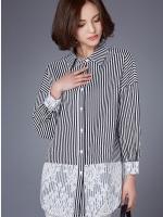 เสื้อเชิ้ตตัวยาวสไตล์เกาหลี แต่งดีเทลแต่งผ้าลูกไม้เก๋ๆ เนื้อผ้าดีสวมใส่สะบาย งานนำเข้าแท้คุณภาพดี