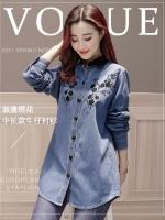 เสื้อเชิ้ตยีนส์สไตล์เกาหลี ปักแต่งลายด้านหน้าเก๋ๆ เนื้อผ้ายีนส์อย่างดีสวมใส่สะบาย งานนำเข้าแบรนด์แท้ของเมืองนอกคุณภาพดี