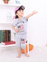 ชุดเซตเด็ก เสื้อ +กางเกงสีเทา สกรีนที่หน้าอก มีฮูด น่ารักสไตล์เกาหลี เก๋มาก