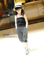 ชุดจั๊มสูทเด็กหญิงมาใหม่ พิมพ์ลายขวาง สีดำ-ขาว ดีไซน์เก๋ น่ารัก ผ้าเนื้อนุ่ม ใส่สบาย สไตล์เกาหลี