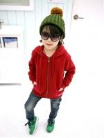 Huanshu kids เสื้อกันหนาวแฟชั่นเด็กสีแดงมีฮูท เก๋มาก น่ารักสไตล์เกาหลี ( ผ้าหนา ) ขนาด120