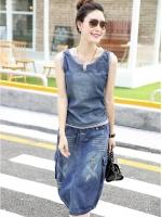 ชุดเซ็ทเสื้อยีนส์+กระโปรงยีนส์งานนำเข้าสไตล์เกาหลี เสื้อด้านหลังเป็นผ้ายืด กระโปรงเอวยืดหยุ่น