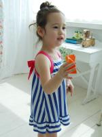 huanshu kids ชุดเดรสแฟชั่นเด็กนำเข้า ลายริ้วสีน้ำเงิน ขาว น่ารักสไตล์เกาหลี