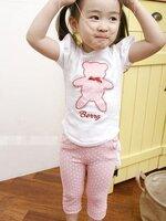 ชุดเซตเด็กหญิง 2 ชิ้น เสื้อสีขาวด้านหน้า ปักรูปหมี+ กางเกงสีชมพูลายจุดขาว ผ้าเนื้อดีน่ารักสไตล์เกาหลี