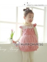 Huanzhu kids ชุดเดรส เด็กทรงบอลลูน สีชมพู น่ารัก สไตล์เด็กเกาหลี