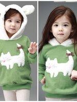 HUANZHUKIDS เสื้อกันหนาวสีเขียวแมวเหมียว มีฮู้ทสีขาว ด้านในเป็นผ้าสำลี