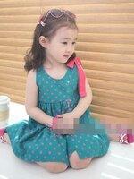 ชุดเดรสเด็ก  กระโปรงตกแต่งวงกลม น่ารักสไตล์เกาหลี