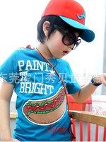HOTPET เสื้อยืดคอกลมนำเข้า  สีฟ้า ลาย Hot dog น่ารัก แนวๆสไตล์เกาหลีจร้า