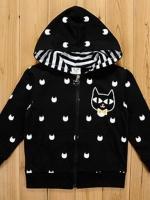 เสื้อแจ็คเก็ต CISI หน้าอกมีรูปแมว มีฮูทเห่ห์ๆ สไตล์เกาหลี
