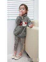 Huanshu kids เสื้อกันหนาวแฟชั่นเด็ก สีเทา ตกแต่งด้วยแมวเหมียวBerry แบบเก๋มาก น่ารักสไตล์เกาหลี(เสื้อหนามาก)