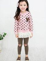 Huanzhu kids ชุดเซตเด็กหญิง 2 ชิ้น เสื้อสีชมพู+กางเกง ผ้าเนื้อดีน่ารักสไตล์เกาหลี