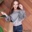 เสื้อเกาหลี พร้อมส่ง เสื้อ knit แขนเฟอร์ thumbnail 1