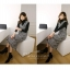 ชุดเดรสเกาหลี พร้อมส่ง เดรสเอี๊ยม ผ้าทวีตชาแนล thumbnail 6