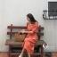 ชุดเดรสเกาหลี พร้อมส่ง Dress คอเหลี่ยม เอวสม๊อคหลัง thumbnail 6
