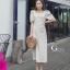ชุดเดรสเกาหลี พร้อมส่ง Dress คอเหลี่ยม เอวสม๊อคหลัง thumbnail 1
