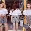 เสื้อผ้าเกาหลี สีขาวระบายกับกางเกงเอวสูง พร้อมส่ง thumbnail 6