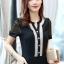 พร้อมส่ง Mini dress ผ้าชีฟองสีดำคอวี thumbnail 4