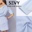 พร้อมส่ง Mini dress รายริ้วฟ้าสลับขาว thumbnail 4
