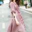 เดรสเกาหลี พร้อมส่ง แม็กซี่เดรสสีชมพู เอวรูด thumbnail 5
