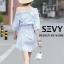 พร้อมส่ง Mini dress รายริ้วฟ้าสลับขาว thumbnail 9