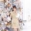 เดรสเกาหลี พร้อมส่ง เดรสเป็นผ้าพื้นสีขาวครีมปั้มลายสีทอง thumbnail 3