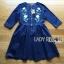 พร้อมส่ง เดรสผ้าเดนิมสีน้ำเงินเข้มปักลายดอกไม้ thumbnail 10