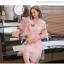 พร้อมส่ง เดรสสีชมพู คอจีน แขนยาวสี่ส่วน thumbnail 5