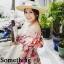 ชุดเดรสเกาหลี พร้อมส่ง เดรสแขนตุ๊กตา ลายดอกชบา thumbnail 4