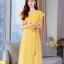 ชุดเดรสเกาหลี พร้อมส่ง ชุดเดรสสีเหลือง ผ้าจอเจียร์ thumbnail 6