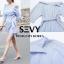 พร้อมส่ง Mini dress รายริ้วฟ้าสลับขาว thumbnail 6
