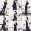 เสื้อผ้าเกาหลี พร้อมส่ง จั้มสูทตัวยาวลายริ้วสีกรม thumbnail 6