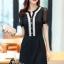 พร้อมส่ง Mini dress ผ้าชีฟองสีดำคอวี thumbnail 1