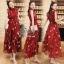 เดรสเกาหลี พร้อมส่ง แม็กซี่เดรส สีแดงลุคสวยน่ารัก thumbnail 2