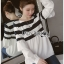 พร้อมส่ง เสื้อผ้าโพลีเอสเตอร์ลายทางสีขาว-ดำ thumbnail 5