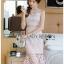 เดรสเกาหลี พร้อมส่ง เดรสผ้าลูกไม้สีชมพู thumbnail 6