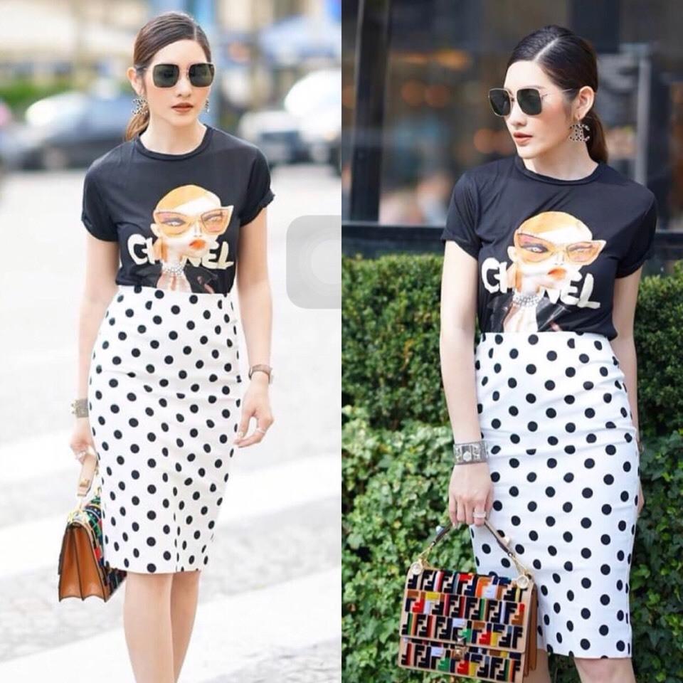 เสื้อผ้าเกาหลี พร้อมส่ง ชุดเซ็ต Chanel เสื้อcotton