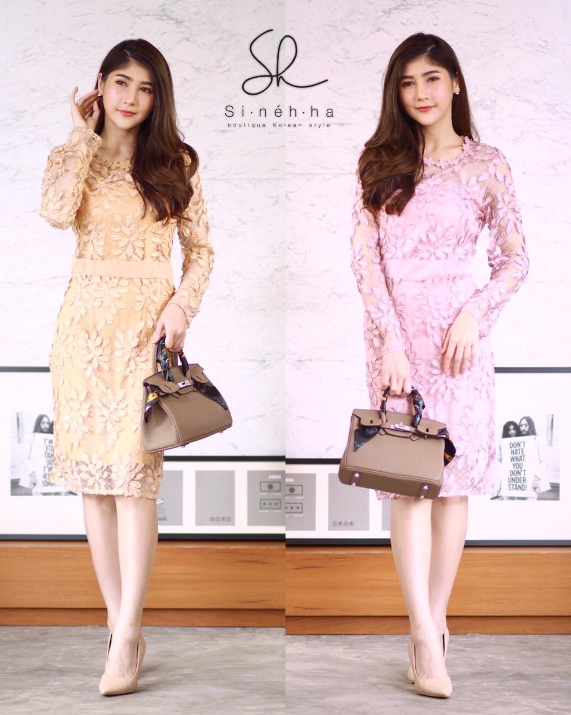 ชุดเดรสเกาหลี พร้อมส่ง Dress ซีทรูปักลูกไม้ดอกลอย