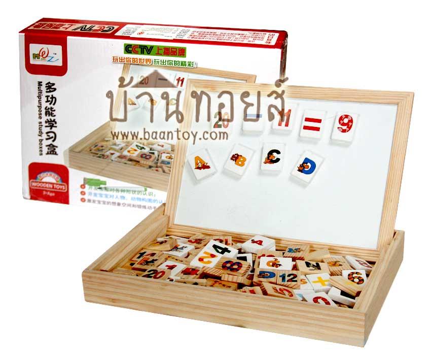 กระดานไวท์บอร์ดเด็ก กระดานไวท์บอร์ดแม่เหล็ก กล่องกระดานไม้พร้อมแผ่นบล็อกไม้แม่เหล็กสำหรับติดกระดานไวท์บอร์ด และ โดมิโน่ไม้ เสริมทักษะคำศัพท์และตัวเลข
