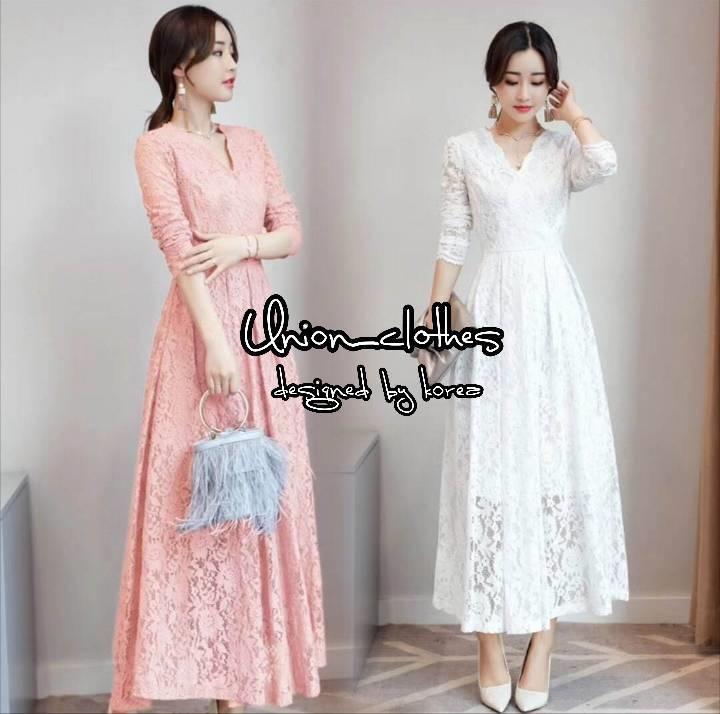 ชุดเดรสเกาหลี พร้อมส่ง Dress แขนยาว คอวี