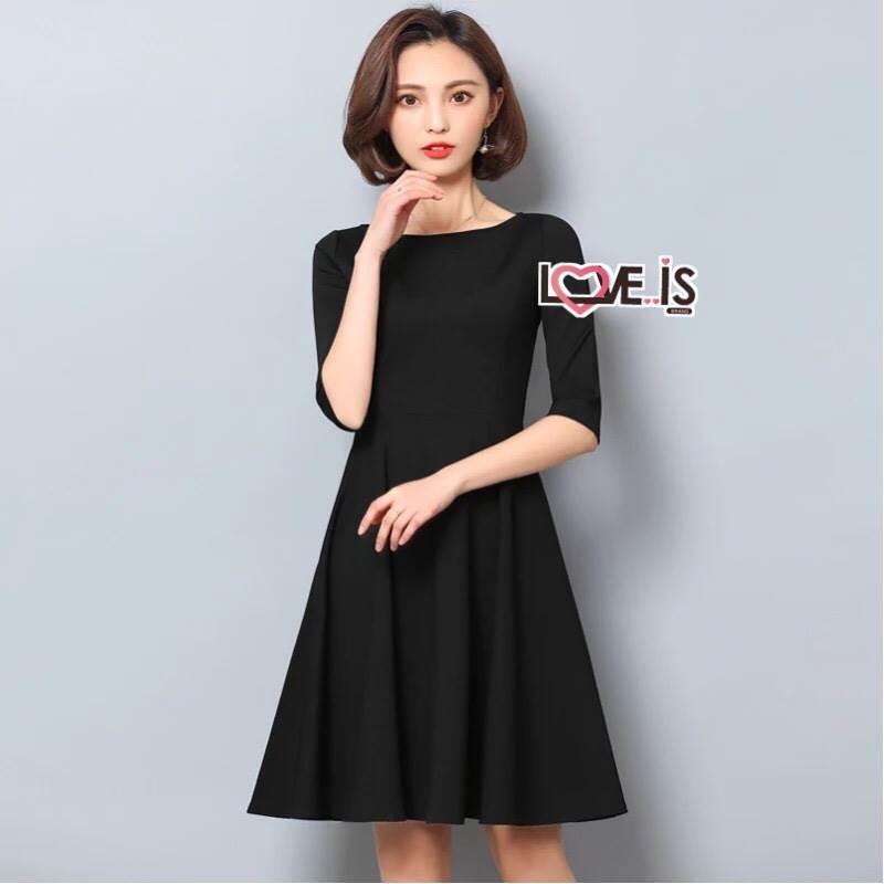 Dress เดรสเกาหลี แขนยาวสี่ส่วน พร้อมส่ง