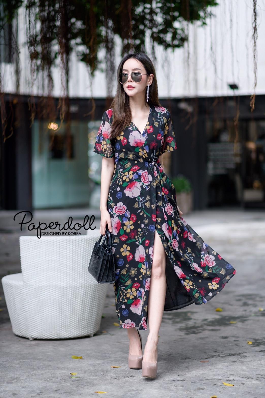 ชุดเดรสเกาหลี พร้อมส่ง Maxi Dress ผ้าชีฟอง ลายดอก