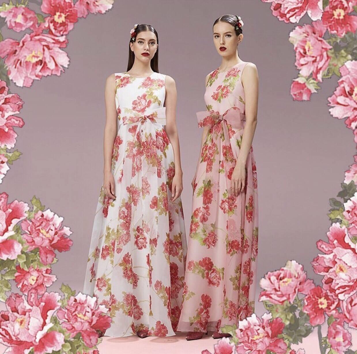 ชุดเดรสเกาหลี พร้อมส่ง เดรสยาว ลายปักลายดอกไม้สีแดง