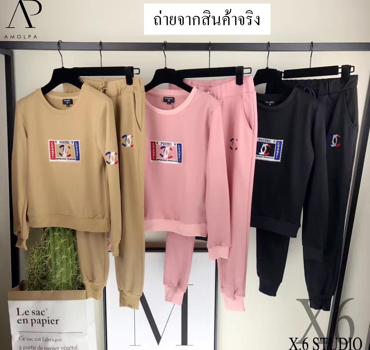 เสื้อผ้าเกาหลี พร้อมส่ง เสื้อ+กางเกงCHANEL